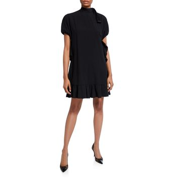 Mock-Neck Short-Sleeve Dress with Ruffles