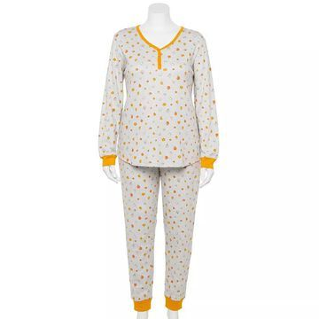 Plus Size LC Lauren Conrad Jammies For Your Families Halloween Harvest Pajama Set, Women's, Size: 2XL, Light Grey