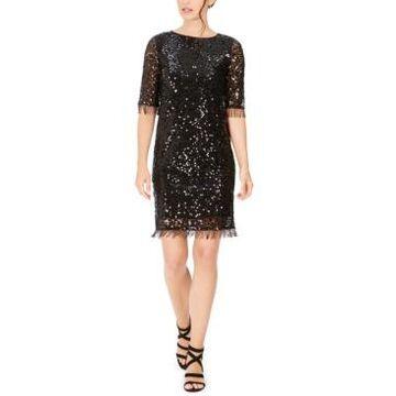 Taylor Sequined Fringe Shift Dress