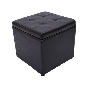 HomCom Square Faux Leather Storage Ottoman, Dark Brown
