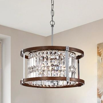 Warehouse of Tiffany Azari Imitation Woodgrain/Chrome Wood/Metal/Crystal 3-light 16-inch Chandelier