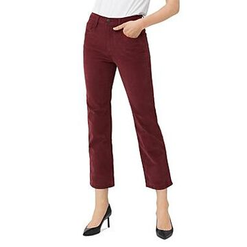 3x1 Austin Crop Straight-Leg Corduroy Jeans in Crimson