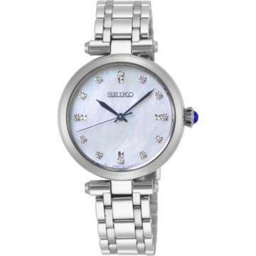 Seiko Women's Diamond-Accent Stainless Steel Bracelet Watch 30mm
