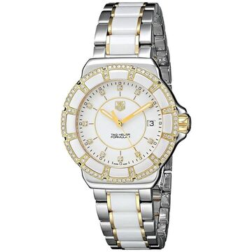 Tag Heuer Women's WAH1221.BB0865 'Formula 1' Diamond Two-Tone Stainless Steel and Ceramic Watch (Stainless Steel - Sapphire - 200 Meters - Three Hand