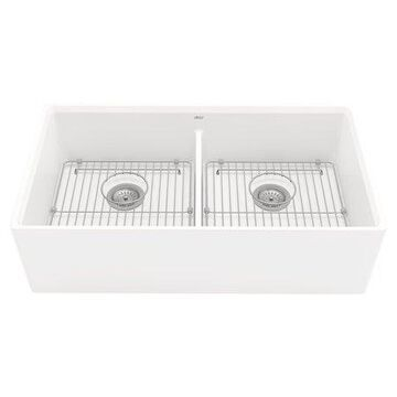 American Standard Avery Dual Mount Apron-Front Fireclay 36 in. Double Bowl Kitchen Sink in Alabaster White