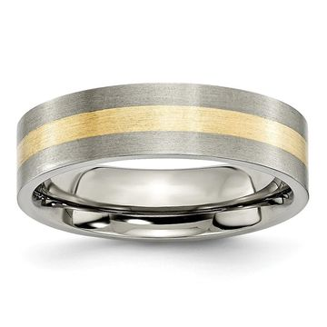 Chisel Titanium Brushed Flat 14K Yellow Gold Inlay 6mm Wedding Band (6.5)