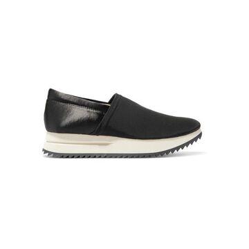 Pedro Garcia - Otylia Faille And Satin Slip-on Sneakers - Black