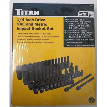 Titan 46053 Tool 53-piece 1/4 In. Drive Sae And Metric Impact Socket Set