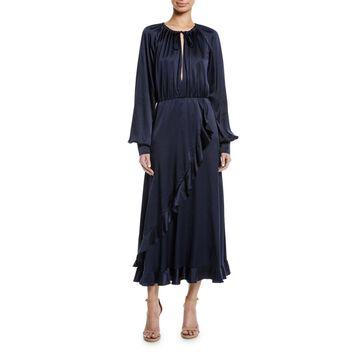 Blouson-Sleeve Cascading Ruffle Dress
