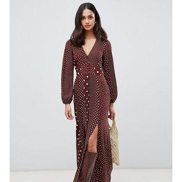 Miss Selfridge maxi dress with blouson sleeve in mixed polka dot