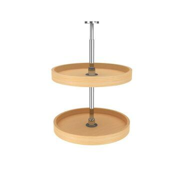 Rev-A-Shelf 18 in Banded Wood Full Circle Lazy Susans 2-Shelf in Brown