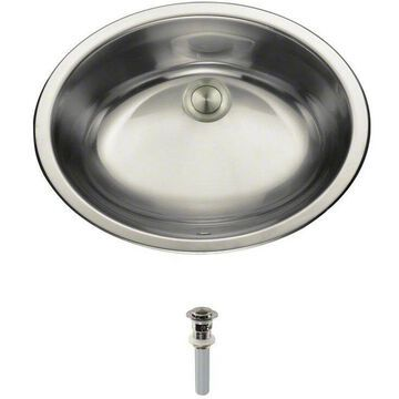 Bathroom Sink Bowl Dual Mount Stainless Steel With Pop-Up Drain Brushed Nickel