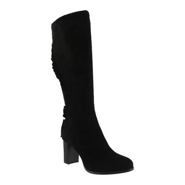 Azura Women's Baesia Knee High Boot Black Microsuede