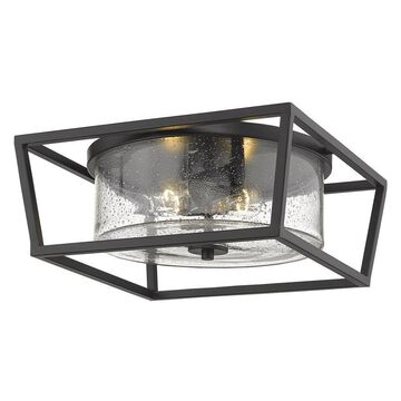 Golden Lighting Mercer 14.5-in Matte Black Modern/Contemporary Incandescent Flush Mount Light