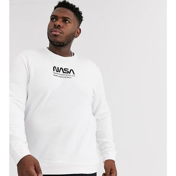 Only & Sons NASA logo crew neck sweat in white