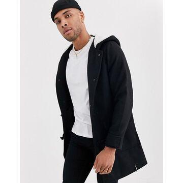 Bershka duffle coat in black