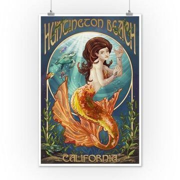 Huntington Beach, California - Mermaid - Lantern Press Poster (12x18 Art Print, Wall Decor Travel Poster)