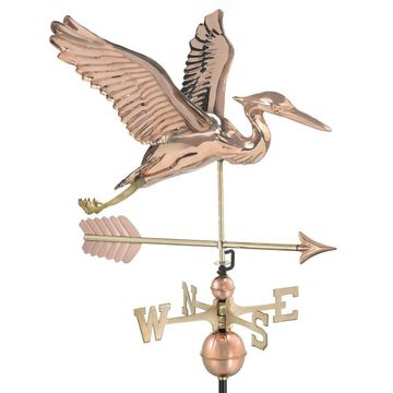 Good Directions Copper Copper Roof-mount Blue Heron Weathervane