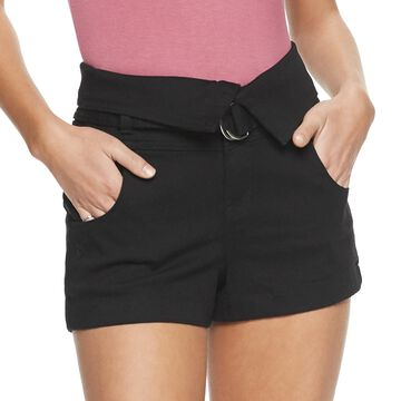 Juniors' Almost Famous Fold Over Belted Shorts