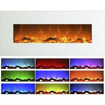 Northwest 50 inch Wall Mounted Electric Fireplace with Color Changing LED, White