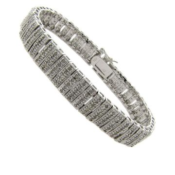 Finesque Sterling Silver 2ct TDW Diamond Stripe Bracelet