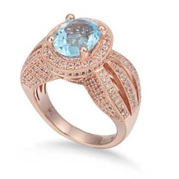 Suzy Levian Sterling Silver 5.18 cttw Blue Topaz Ring