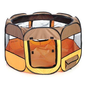 Pet Life All Terrain Lightweight Easy Folding Wire Framed Collapsible Travel Pet Playpen Brown And Orange, Medium, Orange / Brown