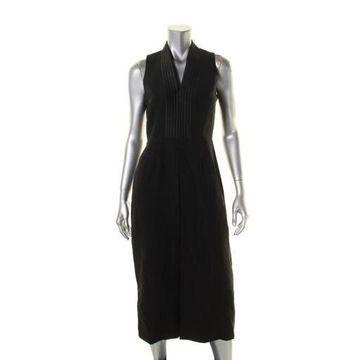 Anne Klein Womens Crepe Satin-Trim Cocktail Dress