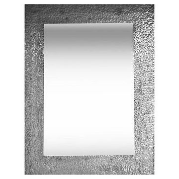Rectangle Hammered Metal Decorative Wall Mirror Silver - PTM Images