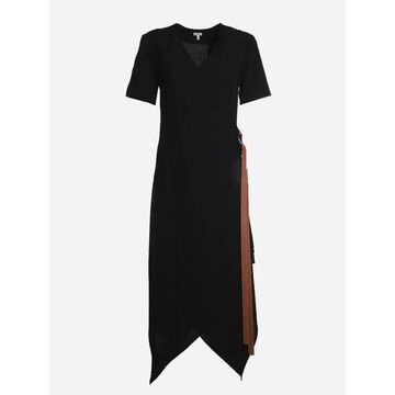 Loewe Wrap Midi Dress In Wool With Leather Belt