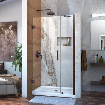 DreamLine Unidoor 72-in H x 40-in to 41-in W Frameless Hinged Oil Rubbed Bronze Shower Door (Clear Glass) | SHDR-20407210-06