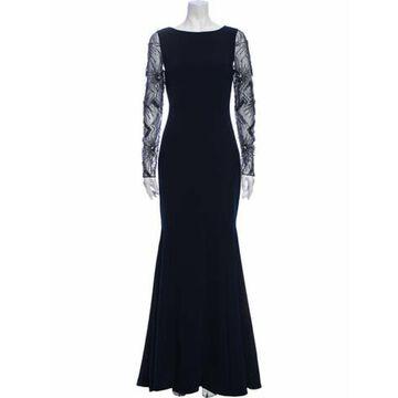 Bateau Neckline Long Dress Blue