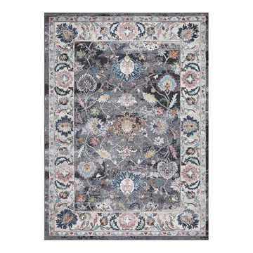 Concord Global Vintage Istanbul Border Area Rug, Grey, 8X11 Ft