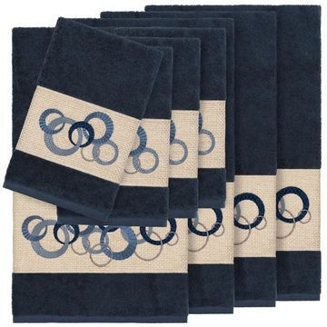 Authentic Hotel and Spa Turkish Cotton Circles Embroidered Midnight Blue 8-piece Towel Set