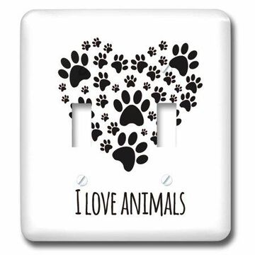 3dRose I love Animals Quotes Phrases Saying Paw Heart Cats Dogs - Double Toggle Switch