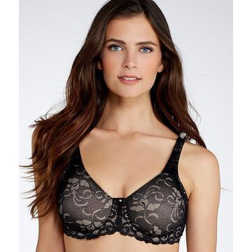 Lilyette 36D Black Beautiful Support Lace Minimizer Bra