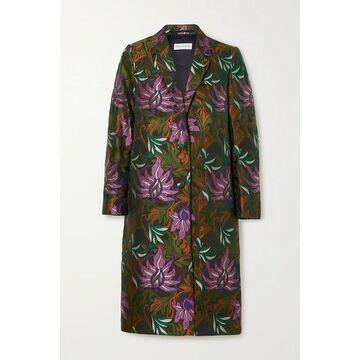 Dries Van Noten - Floral-jacquard Coat - Army green