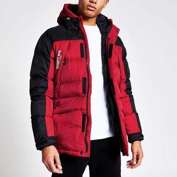 red padded parka jacket