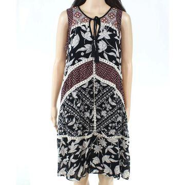 Paige Womens Dress Black Size Medium M Shift Crochet-Trim Floral