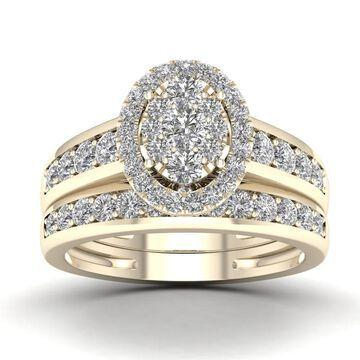 De Couer IGI Certified 1ct TDW Diamond Cluster Engagement Ring Set