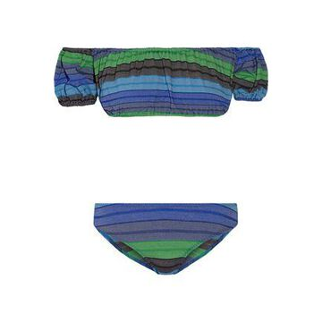Lisa Marie Fernandez Leandra Off-the-shoulder Striped Stretch Cotton-blend Bikini