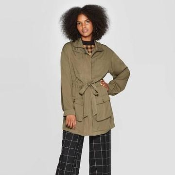 Women's Exagerated Long Sleeve Collared Jacket - Who What Wear Green