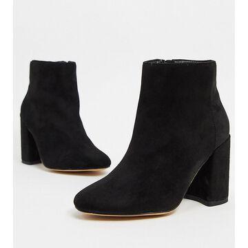 London Rebel Wide Fit block heeled boots in black