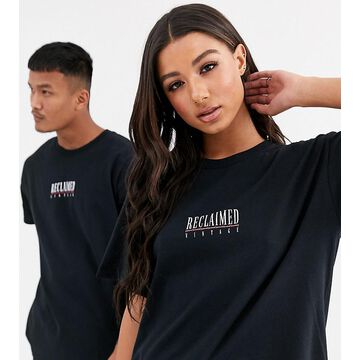 Reclaimed Vintage Unisex logo print t-shirt in black