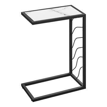 Monarch C-Shape Accent End Table, White