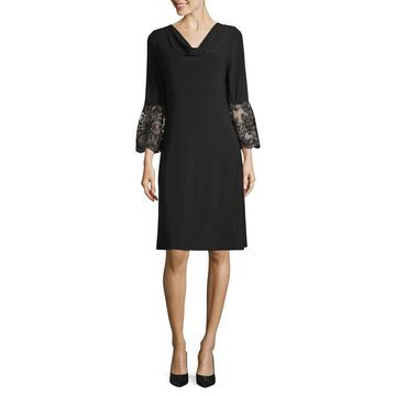Scarlett Embroidered Bell Sleeve Sheath Dress - Tall