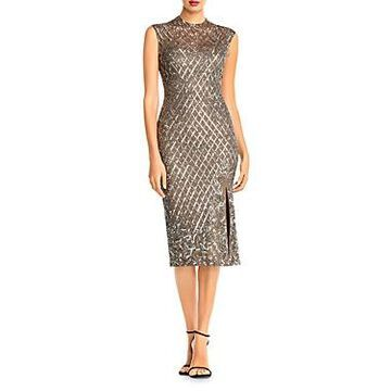 Aidan Mattox Sequin Grid and Beaded Dress - 100% Exclusive