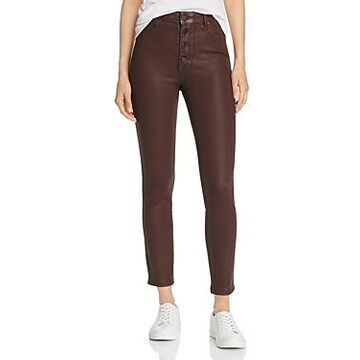 Paige Hoxton Coated Ankle Skinny Jeans in Chicory Coffee