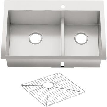 KOHLER Vault Dual-Mount 33-in x 22-in Stainless Steel Double Equal Bowl 1-Hole Kitchen Sink with Drainboard   3839-1-NA