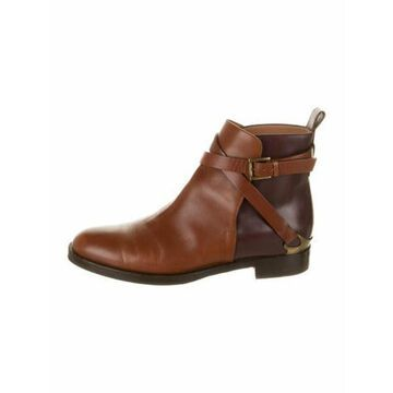 Leather Colorblock Pattern Boots Brown